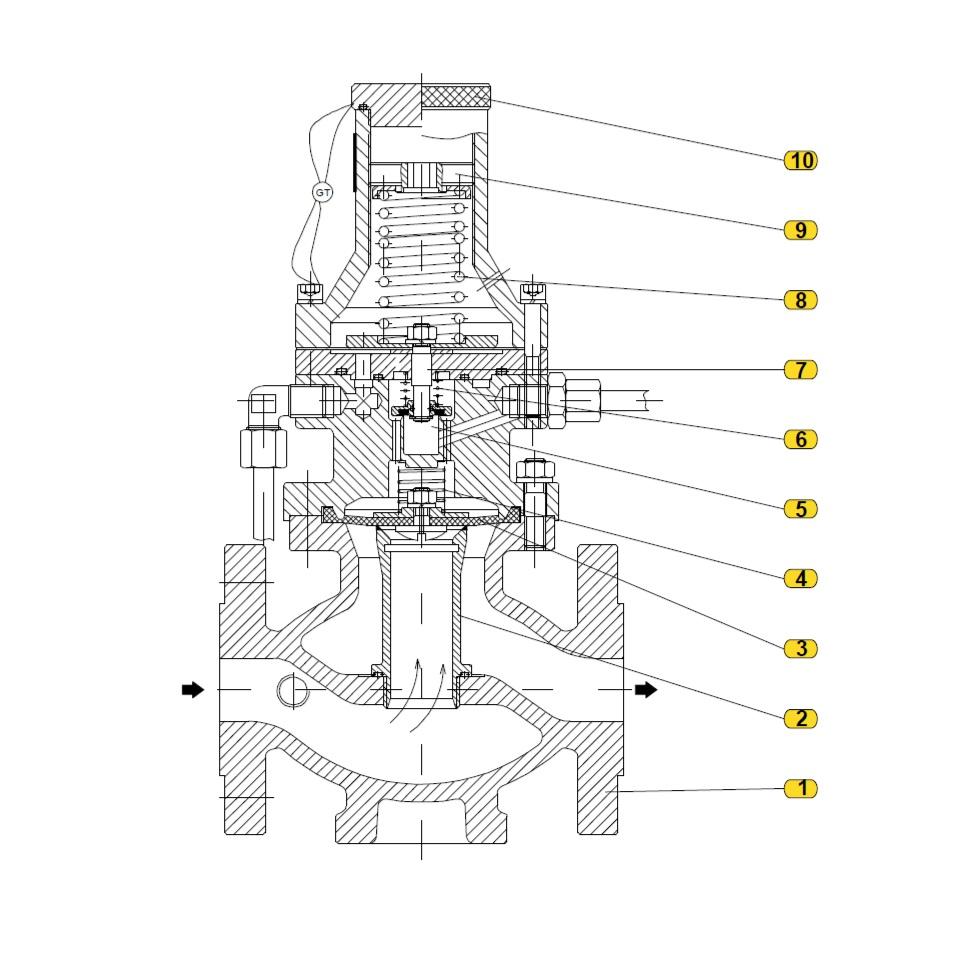 Общая схема  предохранительного сбросного и перепускного клапана 222