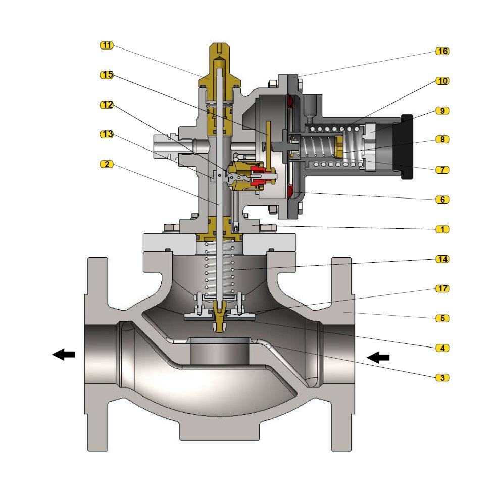 Общая схема  предохранительного запорного клапана 231-BV